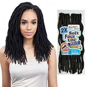 FreeTress Synthetic Hair Crochet Braids 2X Soft Wavy Faux Loc 12""
