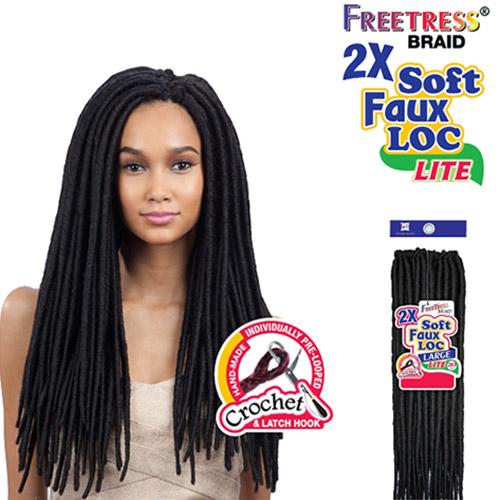 "FreeTress Braid 2X Soft Faux Locs Curly Lite 20"""