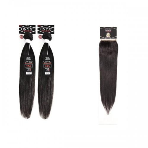 Onyx 100% Virgin Brazilian Human Hair Bundle Weave Straight 2 Bundle With 4x4 Lace closure Super Sale