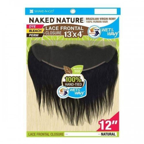 Shake-N-Go Naked Nature 100% Brazilian Remy Hair WET & WAVY Lace Frontal Closure 13X4 LOOSE CURL 12""