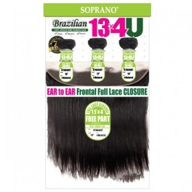 SOPRANO BRAZILIAN REMI VIRGIN STRAIGHT 3 BUNDLE WITH EAR TO EAR FULL LACE CLOSURE