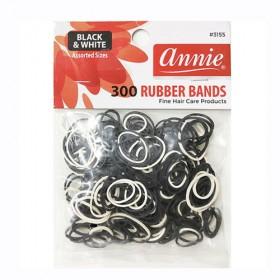 Annie 300 Rubber Bands #3155 Black & White