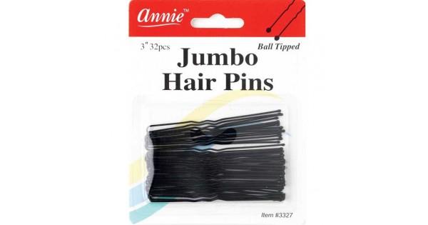 """ANNIE JUMBO HAIR PINS 32 PCS OF 3/"""" BALL TIPPED OPENED HAIR PINS #3327"""