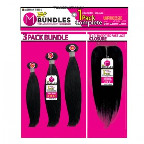 Motown Tress 100% Natural Human Hair 7A Virgin Straight 3pcs + 7A T Closure COMBO DEAL