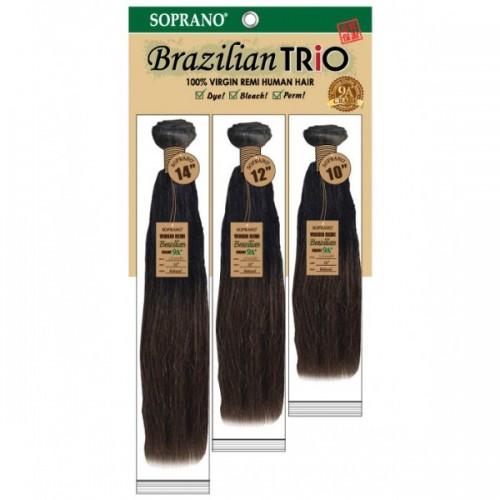 SOPRANO BRAZILIAN REMI VIRGIN BUNDLE TRIO 100% HUMAN HAIR STRAIGHT 3PCS