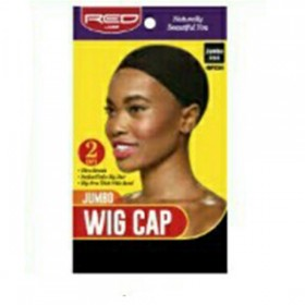 Red by Kiss Jumbo Wig Cap Black HWC04​ 2PCS