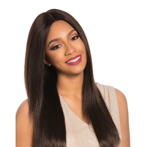 Sensationnel Unprocessed Brazilian Virgin Remy Human Hair Lace Front Wig Bare & Natural 4X4 Swiss Lace Natural Yaki