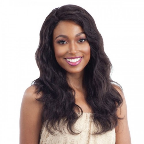 SHAKE N GO NAKED 100% HUMAN HAIR L-PART LACE WIG NATURAL WAVY